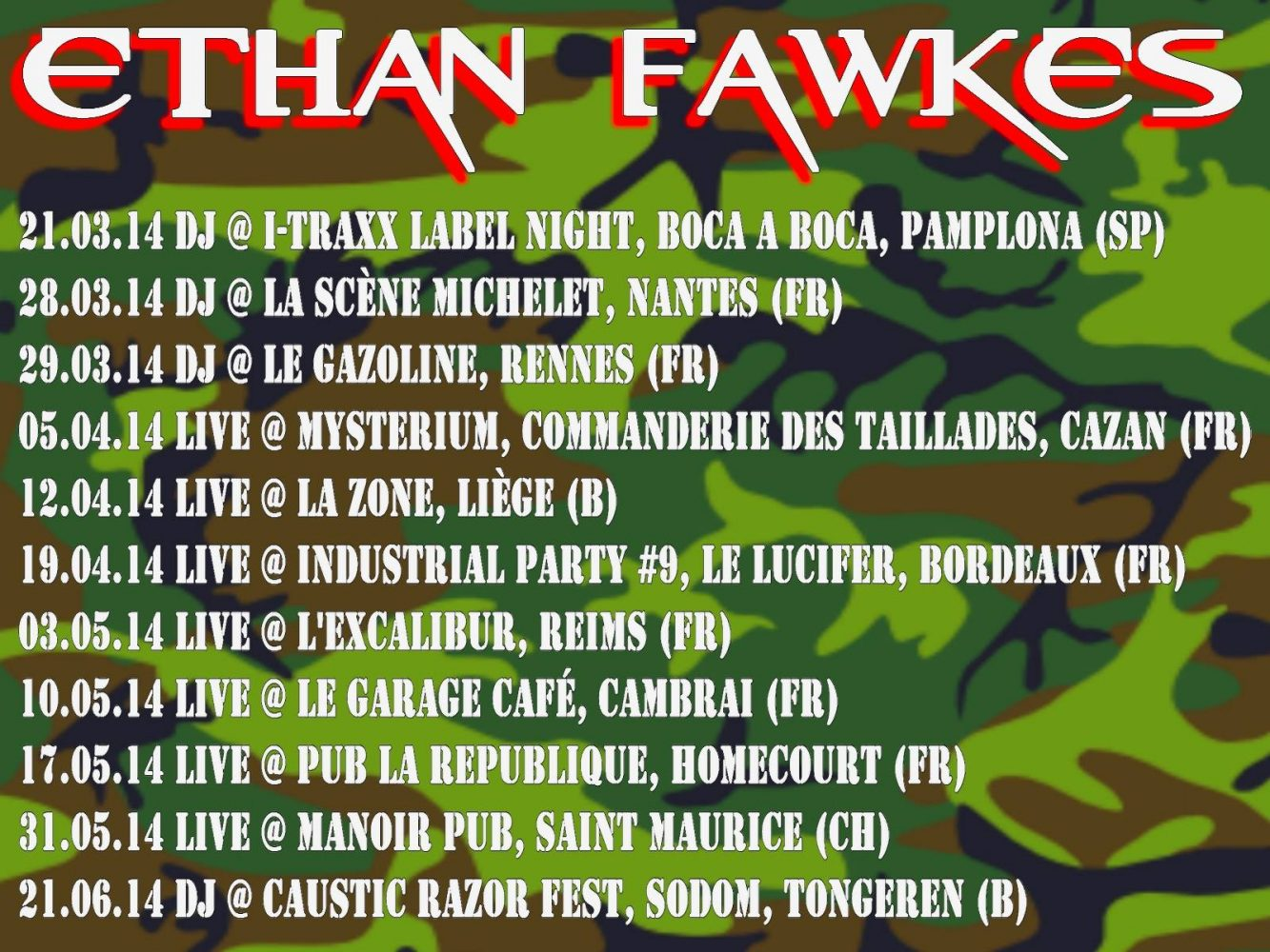 Ethan Fawkes on tour